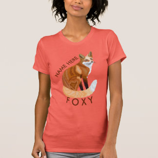 Red Fox Retro Style Girly Personalise This Foxy T-Shirt