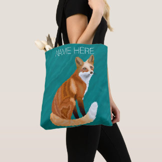Red Fox Retro Style Marbled Teal Add Your Name Tote Bag