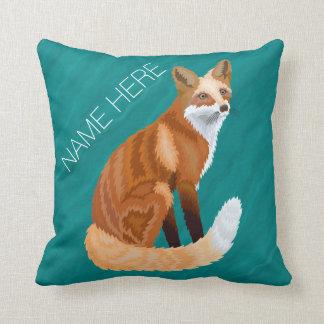 Red Fox Retro Style Teal Home Decor Add A Name Cushion