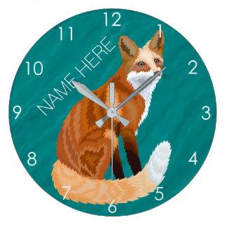 Red Fox Retro Style Woodland Animal Theme Teal Large Clock