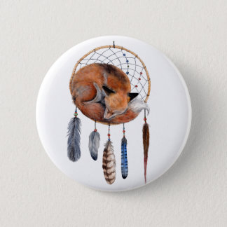 Red Fox Sleeping on Dreamcatcher 6 Cm Round Badge