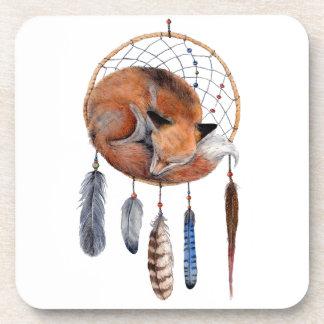 Red Fox Sleeping on Dreamcatcher Beverage Coasters