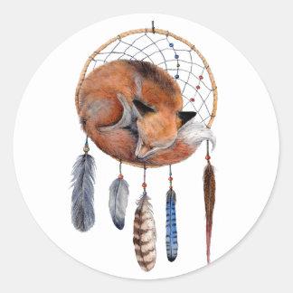 Red Fox Sleeping on Dreamcatcher Classic Round Sticker