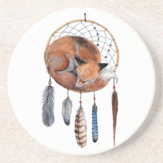 Red Fox Sleeping on Dreamcatcher Coasters