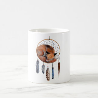 Red Fox Sleeping on Dreamcatcher Coffee Mug