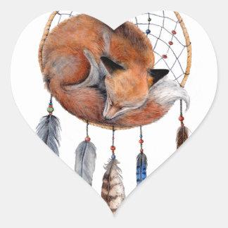 Red Fox Sleeping on Dreamcatcher Heart Sticker