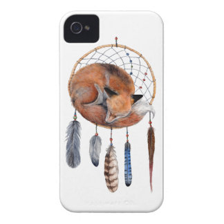 Red Fox Sleeping on Dreamcatcher iPhone 4 Cases