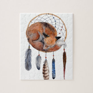 Red Fox Sleeping on Dreamcatcher Jigsaw Puzzle