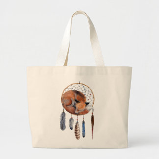 Red Fox Sleeping on Dreamcatcher Large Tote Bag