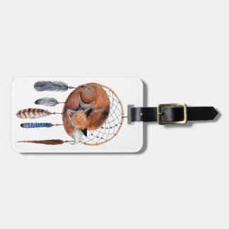 Red Fox Sleeping on Dreamcatcher Luggage Tag