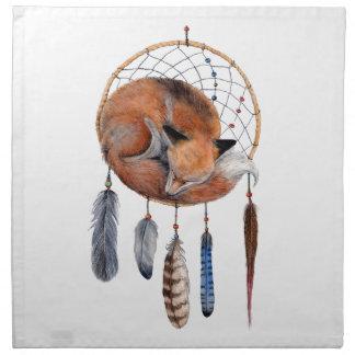 Red Fox Sleeping on Dreamcatcher Napkin