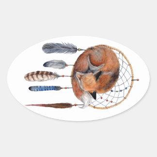 Red Fox Sleeping on Dreamcatcher Oval Sticker