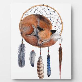 Red Fox Sleeping on Dreamcatcher Plaque