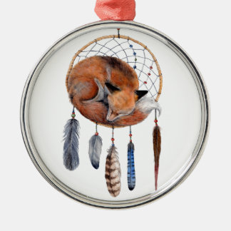 Red Fox Sleeping on Dreamcatcher Silver-Colored Round Decoration