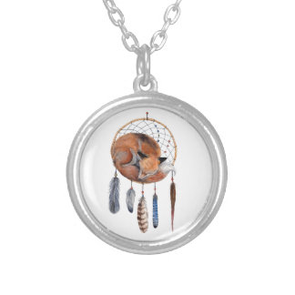 Red Fox Sleeping on Dreamcatcher Silver Plated Necklace