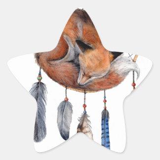 Red Fox Sleeping on Dreamcatcher Star Sticker