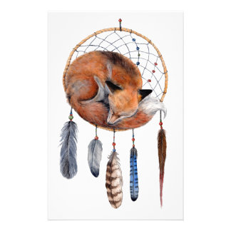 Red Fox Sleeping on Dreamcatcher Stationery