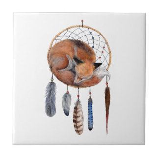 Red Fox Sleeping on Dreamcatcher Tile