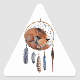 Red Fox Sleeping on Dreamcatcher Triangle Sticker