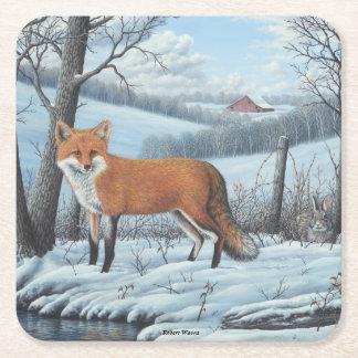 Red Fox Square Paper Coaster