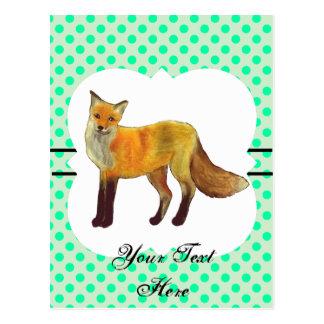 Red Fox Teal Green Polka Dot Postcard
