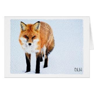 Red Fox/Wildlife Art/Watercolor Look Card