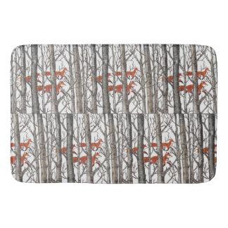 Red Fox Winter Gray Woods Bath Mat Neutral Tones