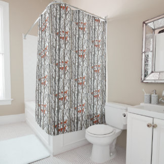 Red Fox Winter Gray Woods Shower Curtain Neutral