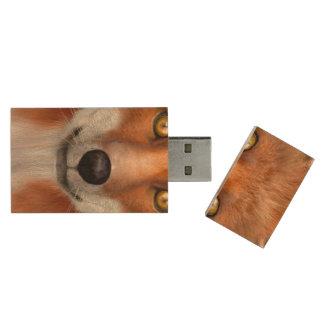 Red Fox Wood USB Flash Drive