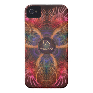 Red Fractal Art Feathers Monogram iPhone4 Case