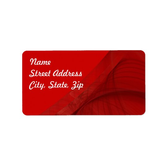 Red Fractal Background Address Sticker Address Label