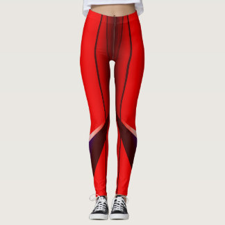 Red Fractal Geometry Art Design Legging