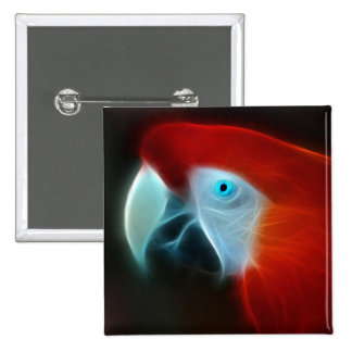Red Fractal Parrot blue eyes Buttons