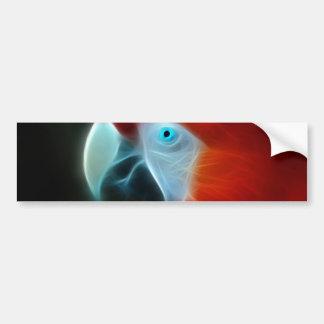 Red Fractal Parrot blue eyes Car Bumper Sticker