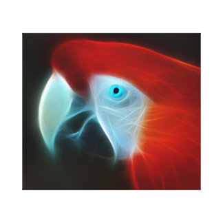 Red Fractal Parrot blue eyes Canvas Print