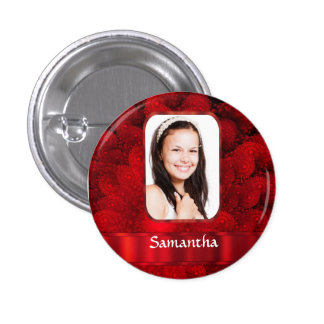 Red fractal photo border 3 cm round badge