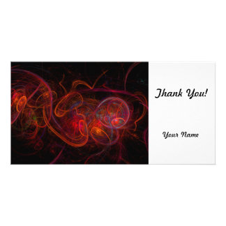 Red Fractal Personalized Photo Card