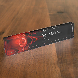 RED FRACTAL ROSE IN BLACK,Abstract Swirls Name Plate