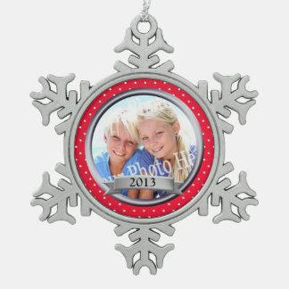 Red Frame Polka Dot Keepsake Snowflake Pewter Christmas Ornament