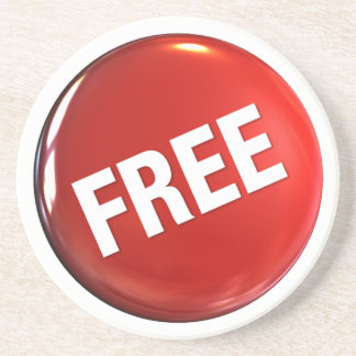 Red Free Button Drink Coasters