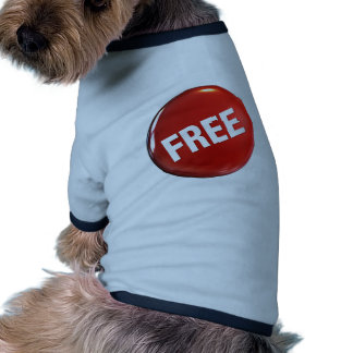 Red Free Button Dog Tee Shirt