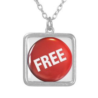 Red Free Button Square Pendant Necklace