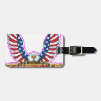 Red Freedom Eagle Banner Luggage Tag