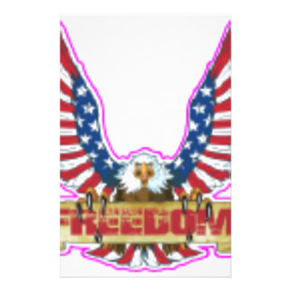Red Freedom Eagle Banner Stationery