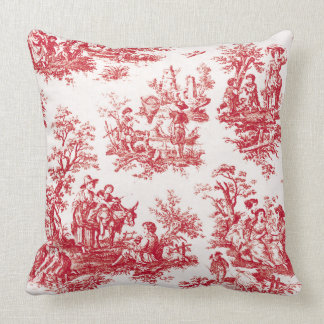 Red French Country Toile Cushion