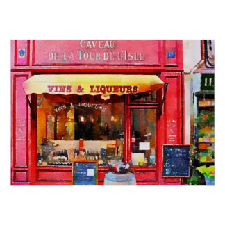 Red French Wine Shop Watercolor Poster
