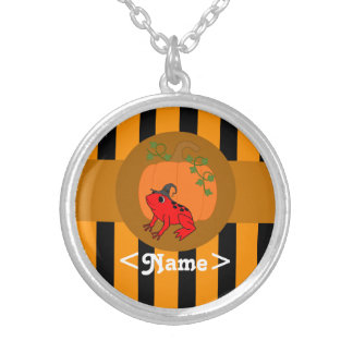 Red Frog with Pumpkin & Orange Stripes Round Pendant Necklace