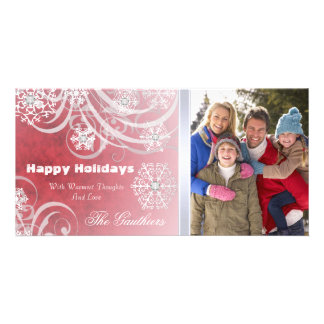 Red Frosted Flourishes Holiday Photo Card