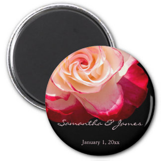 Red Frosted White Rose Personal Wedding Magnet
