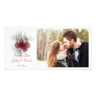 Red Frosty Berries Winter Wedding Save the Date Customised Photo Card